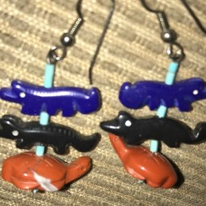Jewelry - Earrings Turtle/Alligator/Wolf Totem Natural Stone